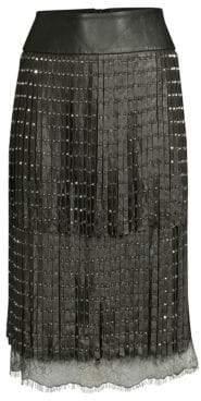 Alice + Olivia Women's Senna Leather Fringe Pencil Skirt - Black Antique Silver - Size 0