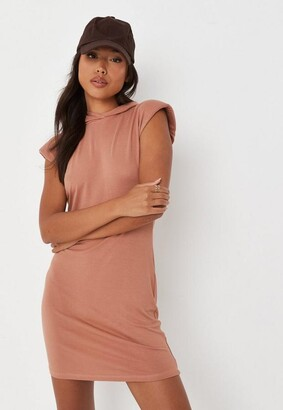 Missguided Tan Hooded Mini Dress