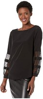 Calvin Klein Crew Neck Blouse with Lace Sleeve (Black) Women's Clothing