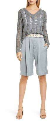 Brunello Cucinelli Pleated Sateen Bermuda Shorts
