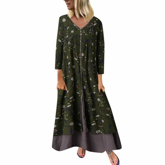 Xmiral Dress Women Floral Printing Patchwork V-Neck Loose Maxi Dresses Long Sleeve Plus Size Retro Holiday Ladies Dresses(b Green 5XL)