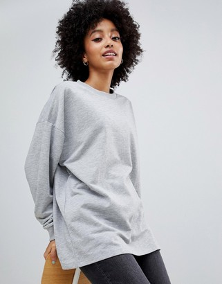 Asos DESIGN oversized slouchy lightweight sweatshirt in gray