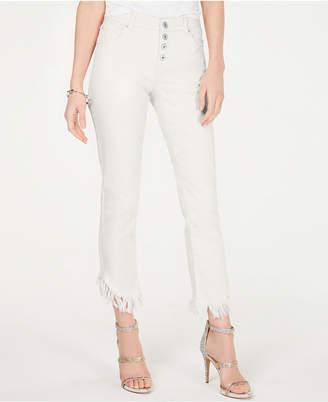 INC International Concepts Inc Fringe-Hem Button-Front Straight-Leg Jeans