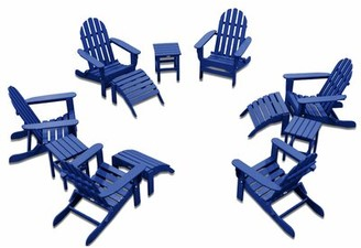 Adirondack Chair Patio Set 6 Pack With 3 Ottomans And 3 Side Tables - White Durogreen Frame Color: Royal Blue