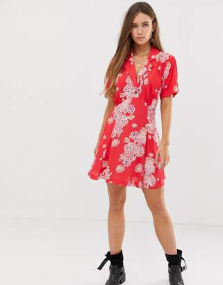 Free People hawaii mini dress-Red