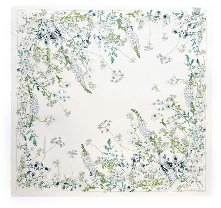 Alexander McQueen 'White Garden' skull print modal-wool twill scarf