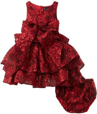 Oscar de la Renta Flower Metallic Jacquard Silk-Blend Dress
