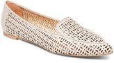 Franco Sarto Satin Taupe Soho Laser-Cut Flat Loafers