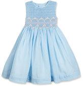 Luli & Me Sleeveless Floral-Trim Smocked Dress, Blue, Size 4-6X