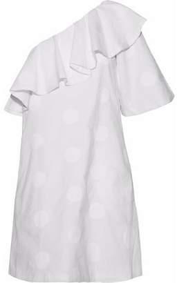Paper London Chichi One-shoulder Embroidered Cotton-poplin Mini Dress