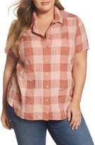 Lucky Brand Plaid Short Sleeve Top