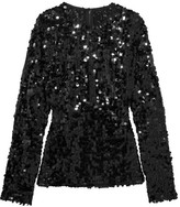 Dolce & Gabbana Sequined Tulle Top - Black