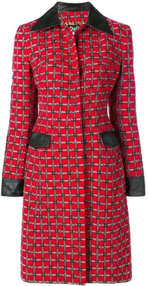 Dolce & Gabbana Pre Owned Buckle Belt Print Coat