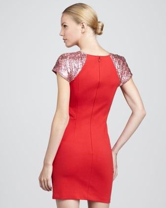 Erin Fetherston Sequin-Sleeve Sheath Dress