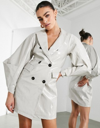 ASOS EDITION vinyl double breasted blazer dress in stone