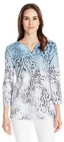 Alfred Dunner Women's 3/4 Sleeve Shirt with Seqins