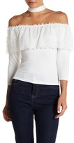 Blvd Off-The-Shoulder Lace Overlay Blouse