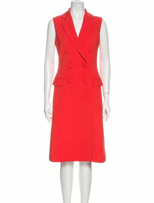 Altuzarra V-Neck Midi Length Dress Red