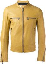 Dolce & Gabbana leather zip jacket - men - Lamb Skin/Acetate/Viscose - 48