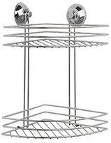 Beldray LA036254 2 Tier Corner Suction Shower Basket, Chrome, Silver