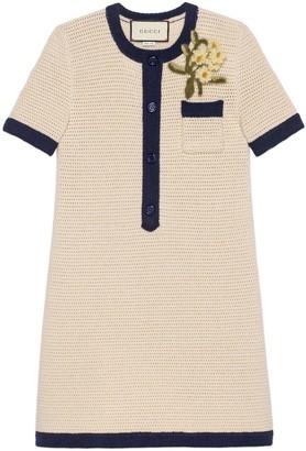 Gucci Short wool dress with flower brooch