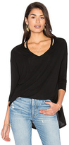Michael Stars 3/4 Slit Shoulder V Neck Top