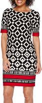 R & K Originals R&K Originals 3/4-Sleeve Border Print Sheath Dress