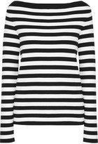 Michael Kors Striped Cotton-jersey Top - Black