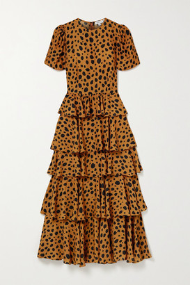 Rhode Resort Serena Tiered Animal-print Crepe Maxi Dress - Orange