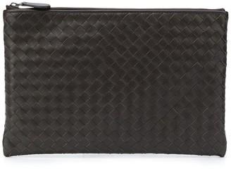 Bottega Veneta woven strip top zip clutch
