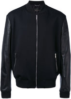 Versace leather-panelled bomber jacket - men - Lamb Skin/Polyamide/Polyester/Spandex/Elastane - 48