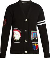 Marco De Vincenzo Badge-appliqué V-neck cotton cardigan