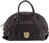 Salvatore Ferragamo Smooth Leather Dome Satchel Bag, Black