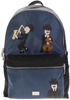 Dolce & Gabbana Blue And Black Nylon Backpack With Patches