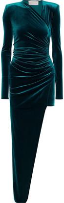 Alexandre Vauthier Asymmetric Ruched Stretch-velvet Dress