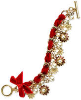 Charter Club Holiday Lane Gold-Tone Pave & Imitation Pearl Poinsettia Velvet Ribbon Bracelet, Created for Macy's