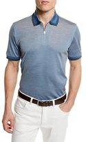 Brioni Contrast-Trim Zip Polo Shirt, Light Blue