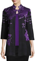 Ming Wang Floral-Print High-Neck Jacket, Multi