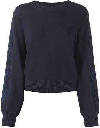See by Chloe embroidered-sleeve sweater