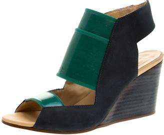 MM6 MAISON MARGIELA Blue/Green Leather and Coated Elastic Fabric Wedge Sandals Size 36