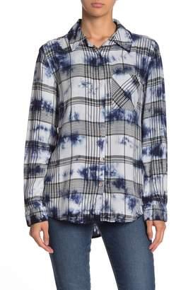 C&C California Tie-Dye Plaid Button Front Shirt