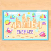 Olive Kids Bedding Summer Sand Castles Personalized Placemat Pink