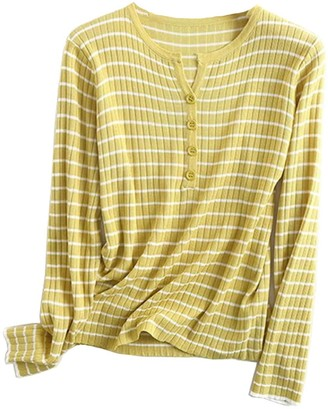 Goodnight Macaroon 'Adelle' Striped Buttoned Ribbed Top (4 Colors)