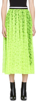 MSGM Yellow Pleated Lace Skirt