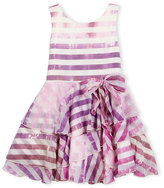 Zoë Ltd Sleeveless Tiered Striped Voile Dress, Lavender, Size 7-14