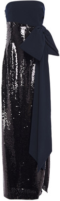 Sachin + Babi Bow-embellished Sequined Tulle And Stretch-crepe Gown