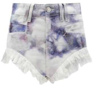 Isabel Marant Eneida High-rise Tie-dye Denim Shorts - Womens - Blue White