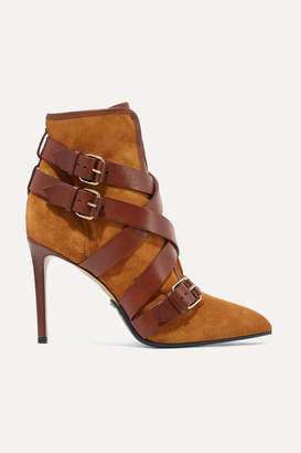 Balmain Jakie Suede And Leather Ankle Boots - Camel