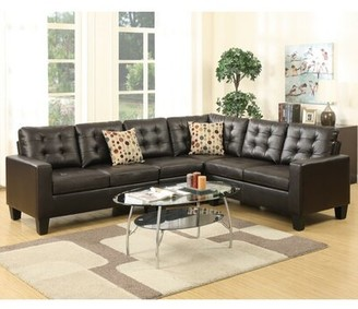 """Alcott Hill Lagarde 107"""" Wide Faux Leather Right Hand Facing Sofa & Chaise"""