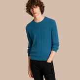 Burberry Aran Knit Cashmere Sweater , Size: Xs, Blue